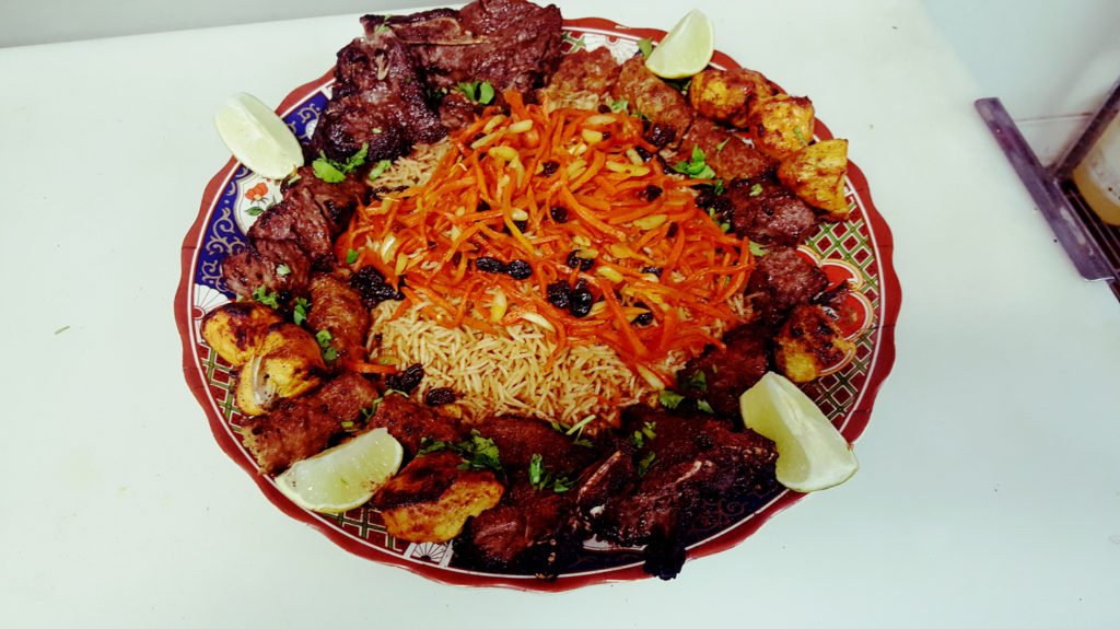 chicken kabob and beef, Lamb kabob dish, afghan food